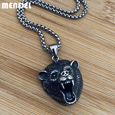 Bear Head Claw Pendant Necklace Men Mendel Mens Vintage Stainless Steel Grizzly