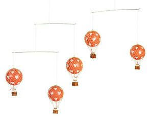 Hot Air Balloon Mobile Red w/ White Hearts Hanging Nursery Ceiling Crib Decor