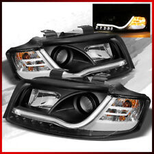 Fits 2002-2005 Audi A4/S4 Projector Headlights R8 Style LED Strip Lights Pair