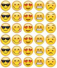 30x Emoji Faces Cupcake Toppers Edible Wafer Paper Fairy Cake Toppers
