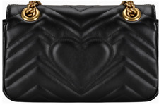 Small Marmont Black Matelasse Shoulder Bag Woman GG style GUCCI