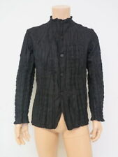 Issey Miyake Men Jacket Black Plisse Wrinkled Crinkled Polyester Size 2 NEW