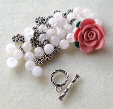 Polymer Clay Flower Bead Rose Quartz Silver Pewter Bracelet Kit DIY Jewelry
