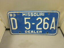 VINTAGE 1983 MISSOURI DEALER LICENSE PLATE EXPIRED OVER 3 YEARS # D 5-26A