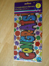 "Congratulations Party Foil Banner, Pack of 2, 182cms x 12.5cms / 71"" x 4.9"" NEW"