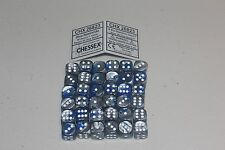 Chessex Blue Steel with White 36 Gemini 12mm Pipped Dice CHX 26823
