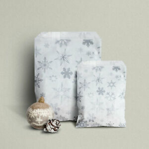 Silver Snowflake Paper Counter Bags - Christmas Party, Frozen, Winter  2 SIZES