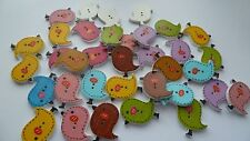 Pretty Birds Wooden Buttons, for 20. Sewing or Crafting. UK SELLER. FREE P&P