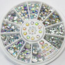 Novelty 5 Sizes White Multicolor Acrylic Nail Art Decoration Glitter Rhinestones