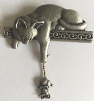 Vintage JJ Jonette Signed Pewter Cat On Mantle Mouse Articulated Brooch Costume