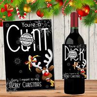 Novelty Christmas Wine Bottle Label Work Secret Santa Gift Rude Funny Insulting