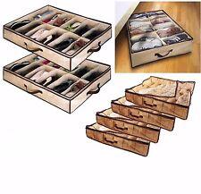 12 Pair Under Bed Shoe Organiser Storage Holder Shoe Box Tidy Bag Rack Pockets