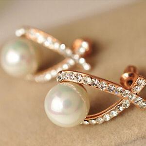 Elegant Shiny Rhinestone Crystal Big Imitation Pearl Cross Wedding Earrings RE