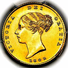 1842 Queen Victoria Great Britain London Gold Half 1/2 Sovereign PCGS MS65