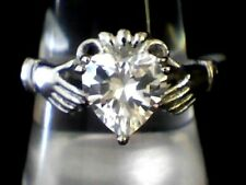 Gorgeous Designer White Topaz Claddagh Irish Heart Love Hands Ring Size 8
