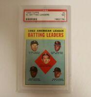 1963 Topps # 2 Mickey Mantle AL Batting Leaders PSA 7 Card New York Yankees