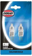 2 x Eveready G4 2 Pin Clear Capsule 20w 12v Halogen Light Bulb