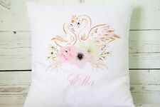 "Personalised swans - 16"" white cushion cover shabby nursery/wedding chic"