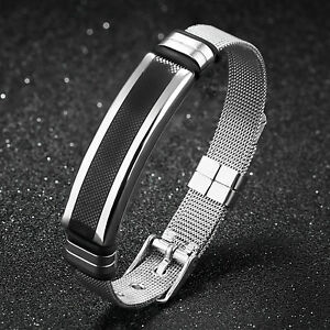 Black silver stainless steel Adjustable belt Mesh Cuff bangle men's ID bracelet