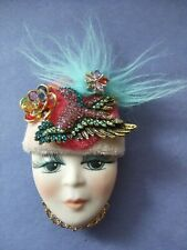 "Pink Hat Blue Hair Floral -2.5"" Duck Lady Face Head Woman Pin *Real*Porcelain"