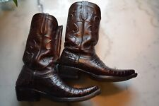 Mens Luchesse Black cherry crocodile boots 9.5