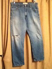 Mens 36 X 32 Levis 505 Regular Fit Blown-Out-Knee Distressed Denim Blue Jeans