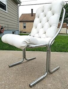 Vintage Daystrom Mid Century Modern Chrome Puffy White Tufted Vinyl Sling Chair
