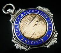 Silver Gold Enamel Pocket Watch Fob Medal, FATTORINI, Birmingham 1923