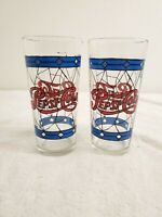 Vintage 70's Pepsi-Cola Tiffany Style Stain Glass Tumbler Set of 2