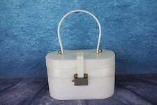Vintage 1950s Ascot Doble Capa Blanca Bolsa De Caja de plástico nacarado arremolinado temprano
