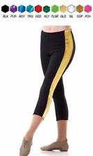 Sidelines Dance Costume CAPRI Yoga PANTS Black w/ Colored Trim Child & Adult New