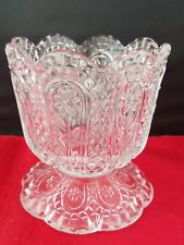 """Avon Clear glass scalloped Candy Bowl floral Compote 4""""h"""