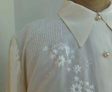 Hermosa Vintage Hecho a Mano Blusa De Seda Bordado A Mano De Pin se acomoda a medida años 40