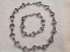 Vintage Mexico Sterling Silver 925 Eagle 3 Heart Shape Necklace Bracelet Signed