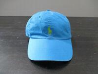 VINTAGE Ralph Lauren Polo Hat Cap Blue Green Pony Strap Back Adjustable Men 90s