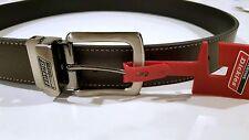 Heavy Duty Men Belt Reversible Buckle Dickies Logo Sz 36 Leather Black to Brown