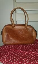 Patricia Nash Tooled Leather Shoulder Bag Tote in Tan