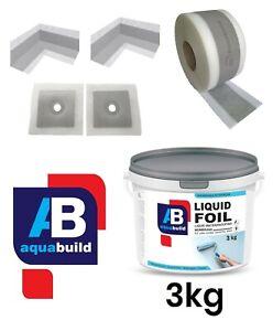 Waterproof Tanking Kit Shower Bathroom Sealing Set 3kg Liquid Foil Membrane 3m²