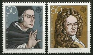 Germany 1980 MNH 2v, Gottfried Wilhelm, Albertus Magnus, Saint, Europa
