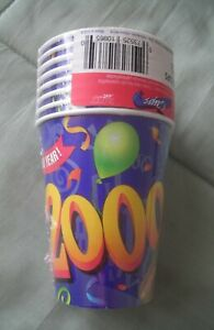 HAPPY NEW YEAR 2000 -8 PAPER CUPS SEALED(PAPER ARTS)