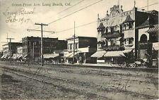 Vintage Postcard Ocean Ave Long Beach CA Cynthia Hotel Apt. Early Automobile