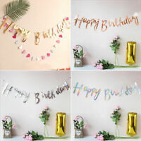 Happy Birthday Wedding Party Bunting Banner Flags Garland Hanging Decoration