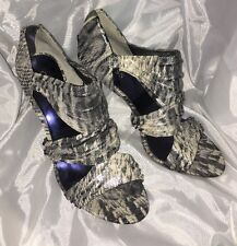GUESS Leather SILVER/Pewter White METALLIC SANDAL Pump High Heel  9.5US