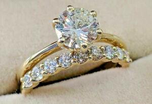 3.29ct Round Solitaire Diamond Engagement Ring Wedding Band 14k Yellow Gold