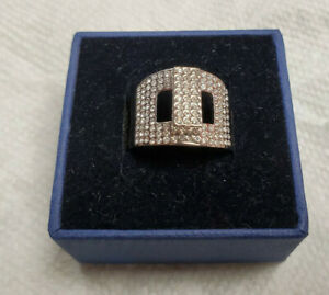 Signed Swarovski Crystal Buckle-Bling Ring Size 8 Pre-Owned Rare