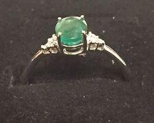 18ct White Gold Emerald & Diamond Ring NEW RRP £599
