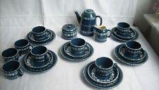 Gmundner Keramik älteres Dekor Kaffeeservice 6 Personen blau guter Zustand