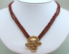 Vintage OLD CUZCO Peruvian Viracocha Inca Pendant With Red Bead Necklace