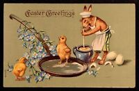 Dressed Bunny Rabbit with Frying Pan Cooking Eggs Easter Fantasy Postcard-k231
