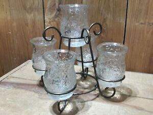 5 Candle Iron Metal Candle Holder W/ Glass Holders - Centerpiece - Decor
